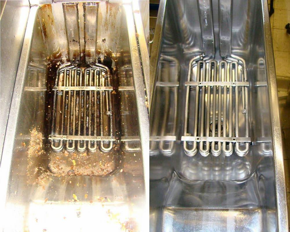 NEC+ - nettoyage en profondeur - degraissage - friteuse professionnelle - avant apres